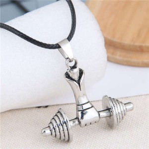 Gym Fashion Lifting Weights Silver Pendant Rope Necklace
