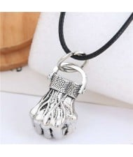 Vintage Silver Fist Pendant Punk Fashion Rope Necklace