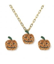 Halloween High Fashion Rhinestone Pumpkin Design Costume Necklace and Earrings Set