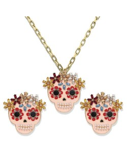 Halloween Fashion Pinky Skulls Alloy Necklace and Earrings Set