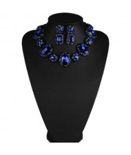 Luxurious High Fashion Rhinestone Bold Style Short Costume Necklace and Earrings Set - Blue