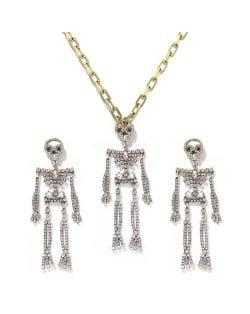 Rhinstone Inlaid Skeleton Pendant Halloween Punk Fashion Costume Alloy Necklace and Earrings Set - White