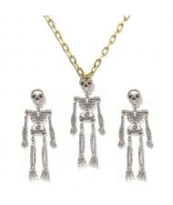 Rhinstone Inlaid Skeleton Pendant Halloween Punk Fashion Costume Alloy Necklace and Earrings Set - White