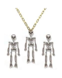 Rhinstone Inlaid Skeleton Pendant Halloween Punk Fashion Costume Alloy Necklace and Earrings Set - Luminous Colorful