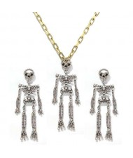 Rhinstone Inlaid Skeleton Pendant Halloween Punk Fashion Costume Alloy Necklace and Earrings Set - Luminous Colorful