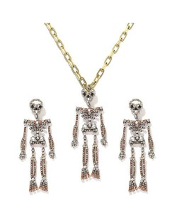 Rhinstone Inlaid Skeleton Pendant Halloween Punk Fashion Costume Alloy Necklace and Earrings Set - Champagne