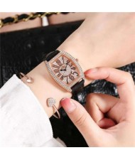 6 Colors Available Rhinestone Embellished Cute Arabic Numerals Design Shining Index High Fashion Women Leather Wrist Watch