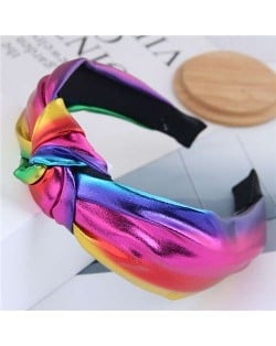 Shining Fashion PU Texture Bowknot Design Women Hair Hoop - Multicolor