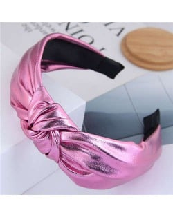 Shining Fashion PU Texture Bowknot Design Women Hair Hoop - Pink