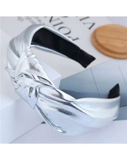 Shining Fashion PU Texture Bowknot Design Women Hair Hoop - Silver