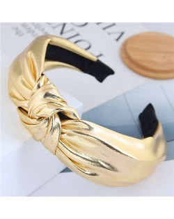 Shining Fashion PU Texture Bowknot Design Women Hair Hoop - Golden