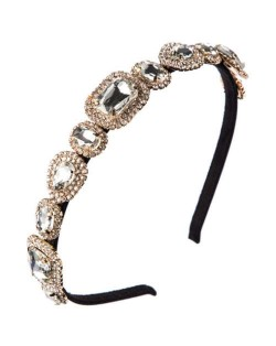 Luxurious Glass Gem Embellished Super Shining Fair Lady Headband - White