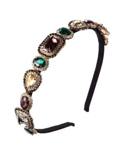 Luxurious Glass Gem Embellished Super Shining Fair Lady Headband - Multicolor