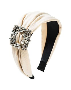 Rhinestone Square Buckle Decorated Korean Fashion Cloth Women Headband - Creamy White