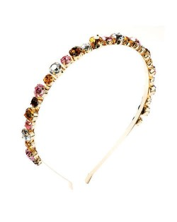 Colorful Rhinestone Embellished Slim Style Internet Celebrity Fashion Women Headband