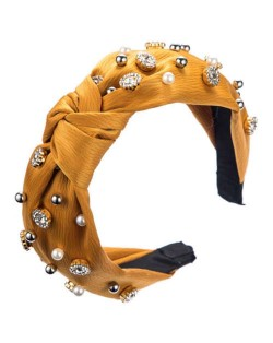 Internet Celebrity Fashion Rhinestone and Pearl Embellished Bowknot Cloth Women Headband - Yellow
