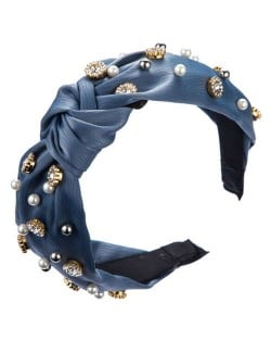 Internet Celebrity Fashion Rhinestone and Pearl Embellished Bowknot Cloth Women Headband - Blue