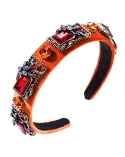 Vintage Royal Fashion Glass Gem Flower Pattern Decorated Flannel Women Headband - Orange