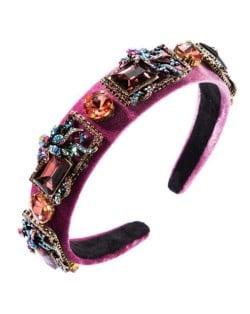 Vintage Royal Fashion Glass Gem Flower Pattern Decorated Flannel Women Headband - Pink