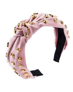 Golden Stars Decorated Bowknot Cloth High Fashion Women Headband - Pink