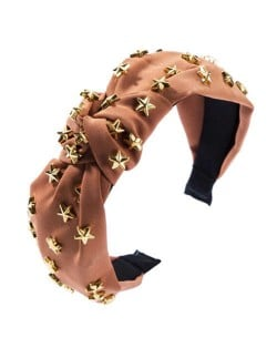 Golden Stars Decorated Bowknot Cloth High Fashion Women Headband - Brown