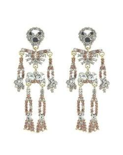 Punk Fashion Skeleton Design Halloween Style Rhinestone Embellished Alloy Earrings - Champagne