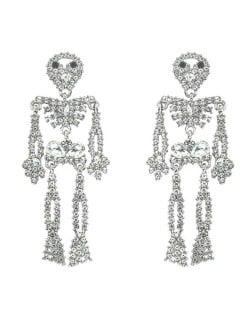 Punk Fashion Skeleton Design Halloween Style Rhinestone Embellished Alloy Earrings - White
