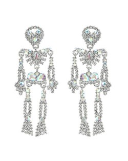 Punk Fashion Skeleton Design Halloween Style Rhinestone Embellished Alloy Earrings - Luminous White