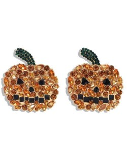 Shining Pumpkin Design Creative Design High Fashion Women Earrings - Champagne