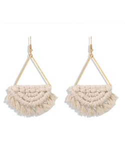 Cotton Threads Hand Weaving Pattern Bohemian Fashion Women Dangling Costume Earrings - White