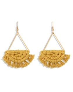 Cotton Threads Hand Weaving Pattern Bohemian Fashion Women Dangling Costume Earrings - Yellow