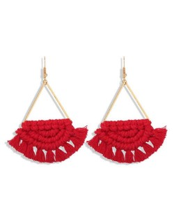 Cotton Threads Hand Weaving Pattern Bohemian Fashion Women Dangling Costume Earrings - Red