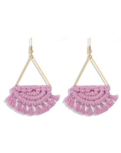 Cotton Threads Hand Weaving Pattern Bohemian Fashion Women Dangling Costume Earrings - Violet