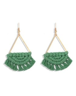 Cotton Threads Hand Weaving Pattern Bohemian Fashion Women Dangling Costume Earrings - Green