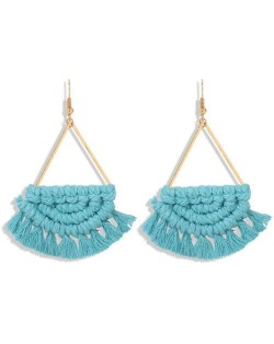 Cotton Threads Hand Weaving Pattern Bohemian Fashion Women Dangling Costume Earrings - Blue