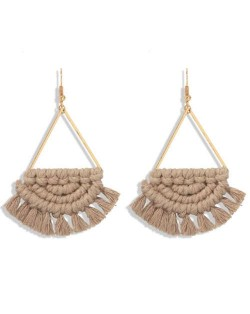 Cotton Threads Hand Weaving Pattern Bohemian Fashion Women Dangling Costume Earrings - Khaki