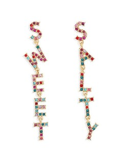 Asymmetric Design Colorful Rhinestone Alphabets High Fashion Women Dangling Costume Earrings