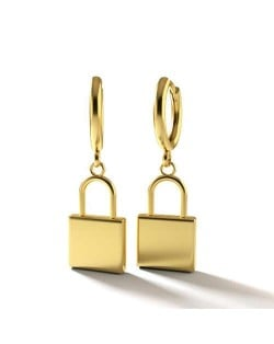 Golden Lock Pendants Internet Celebrity Preferred High Fashion Women Copper Earrings