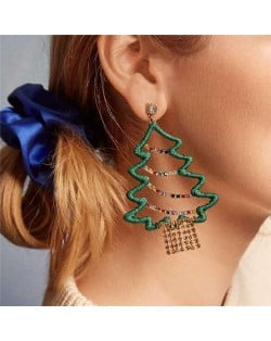 Classic Christmas Tree Design High Fashion Women Costume Earrings