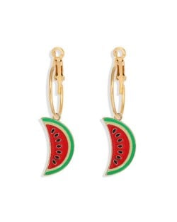Enamel Watermelon Slices Creative Design Korean Fashion Women Earrings - Red