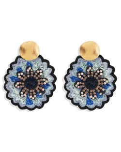 Embroidery Flower Traditional Design High Fashion Women Stud Earrings - Black
