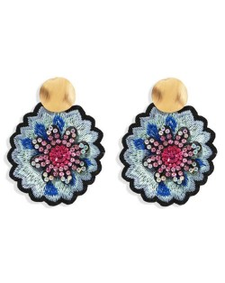 Embroidery Flower Traditional Design High Fashion Women Stud Earrings - Pink