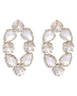 Baroque Fashion Rhinestone Shining Color Style Women Hoop Earrings - White