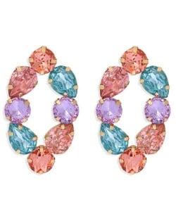Baroque Fashion Rhinestone Shining Color Style Women Hoop Earrings - Red
