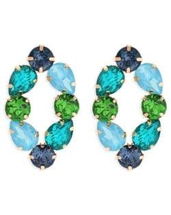 Baroque Fashion Rhinestone Shining Color Style Women Hoop Earrings - Blue