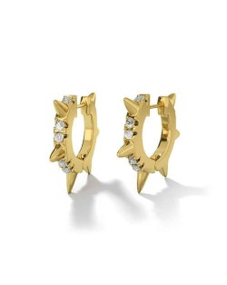 Rhinestone Embellished Rivets Punk High Fashion Golden Women Earrings