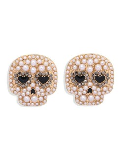Heart Eyes Skull Design Halloween Fashion Women Stud Earrings - Pearl