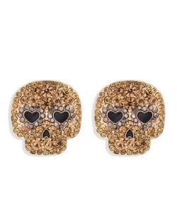 Heart Eyes Skull Design Halloween Fashion Women Stud Earrings - Brown