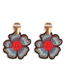 Beads Inlaid Embrodiary Flower Fashion Women Earrings - Red