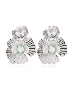 Resin Gem Inlaid Silver Flowers Design Alloy Women Costume Earrings - Luminous Colorful